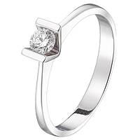 Родированное золотое кольцо 585 пробы с натуральными бриллиантом