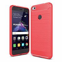 Чехол Carbon для Huawei P8 lite 2017 / P9 lite 2017 бампер Red