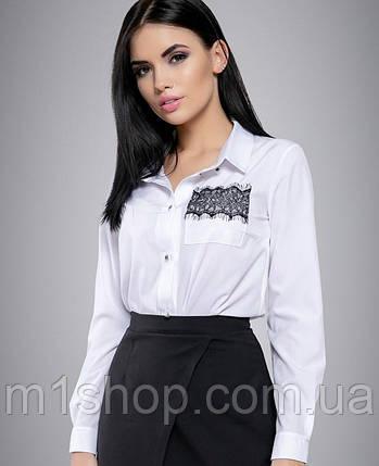 Женская белая блузка с вышивкой на кармане (2698 svt), фото 2