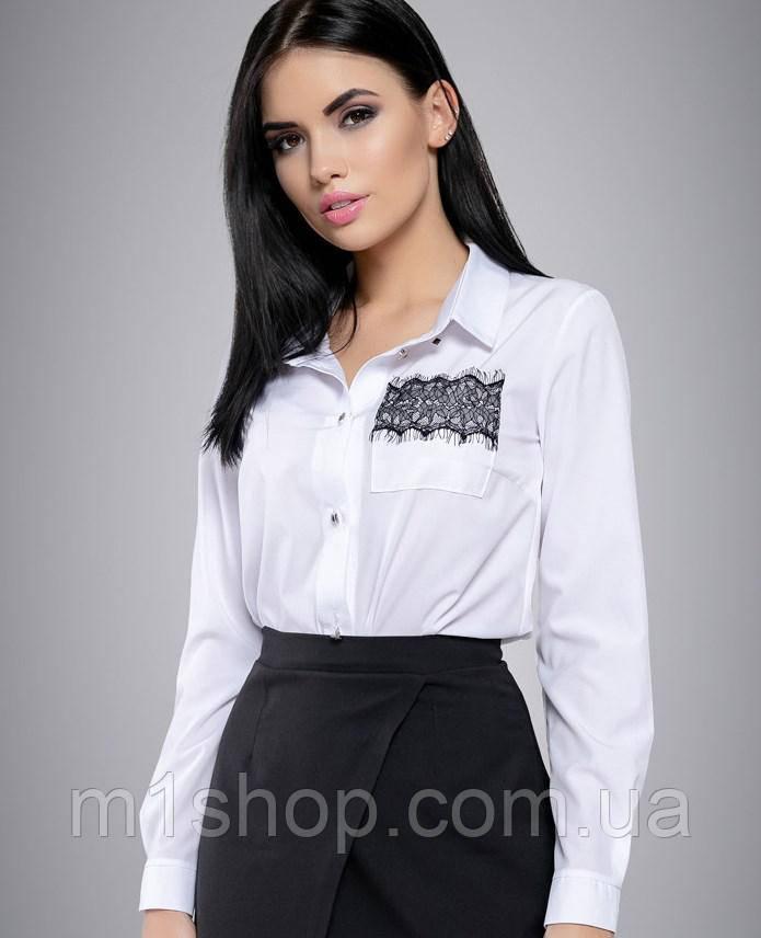 Женская белая блузка с вышивкой на кармане (2698 svt)