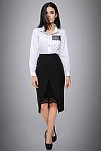 Женская белая блузка с вышивкой на кармане (2698 svt), фото 3