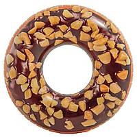 Надувной круг для плавания шоколадный пончик Intex 56262: размер 114см, фото 1