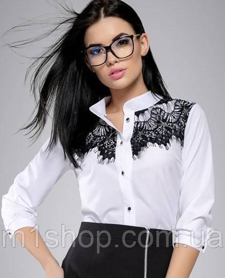 Женская белая блузка с вышивкой на груди (2699 svt)