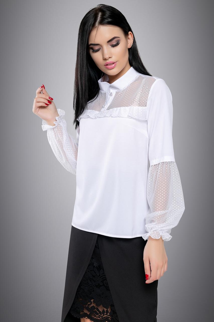 Нарядная женская белая блуза с сеткой