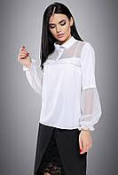 Нарядная женская белая блуза с сеткой, фото 1