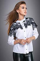 Женская белая блузка с вышивкой на груди и рукавах (2712 svt), фото 2
