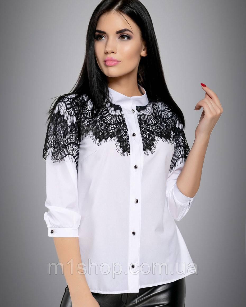 Женская белая блузка с вышивкой на груди и рукавах (2712 svt)