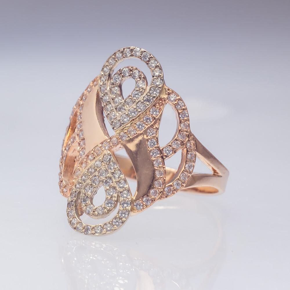 Золотое кольцо бесконечность с фианитами. КП1623