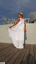 Легкое платье в пол без рукав свободного кроя без рукав белое, фото 3