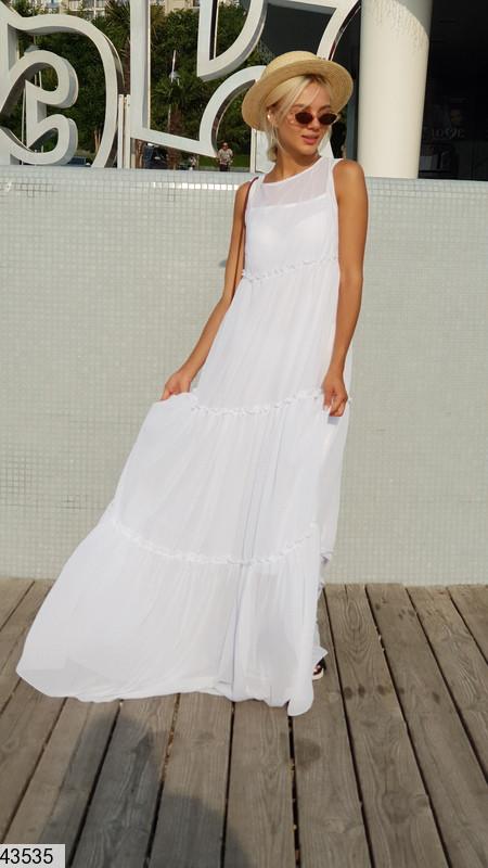 Легкое платье в пол без рукав свободного кроя без рукав белое