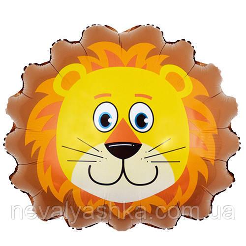 Шар Воздушный Фольгированный Шарик Надувной Фигура Лев 50 см Голова Льва Животные Шары MK 1332