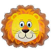 Шар Воздушный Фольгированный Шарик Надувной Фигура Лев 50 см Голова Льва Животные Шары MK 1332, фото 1