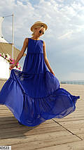 Воздушное платье макси широкое однотонное без рукав цвет электрик, фото 3