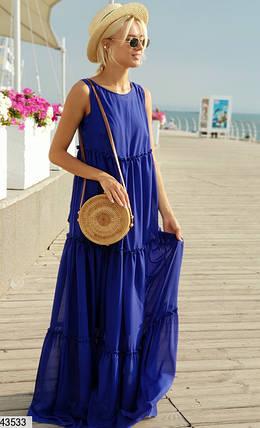 Воздушное платье макси широкое однотонное без рукав цвет электрик, фото 2