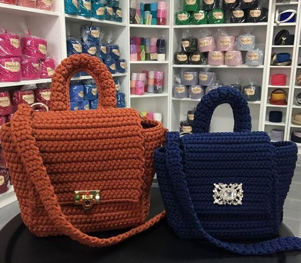 вязаная сумочка, сумка из трикотажной пряжи