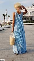Нежное платье макси широкого кроя без рукав одного тона голубое, фото 2