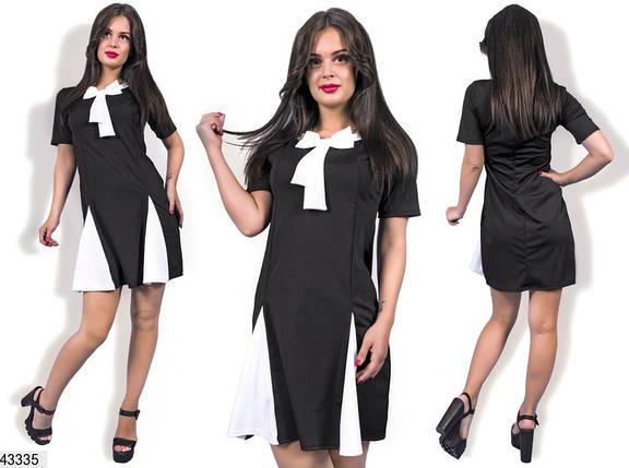 Стильное платье короткое полуприталенное короткий рукав с бантом черное, фото 2