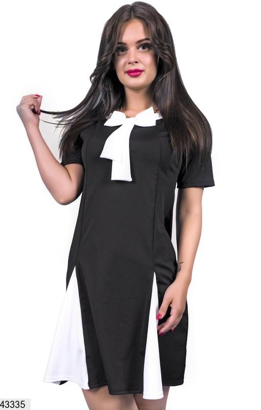 Стильное платье короткое полуприталенное короткий рукав с бантом черное