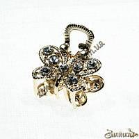 Крабики для волос, метал золотистого цвета, камни белые(прозрачные), 12 штук в упаковке