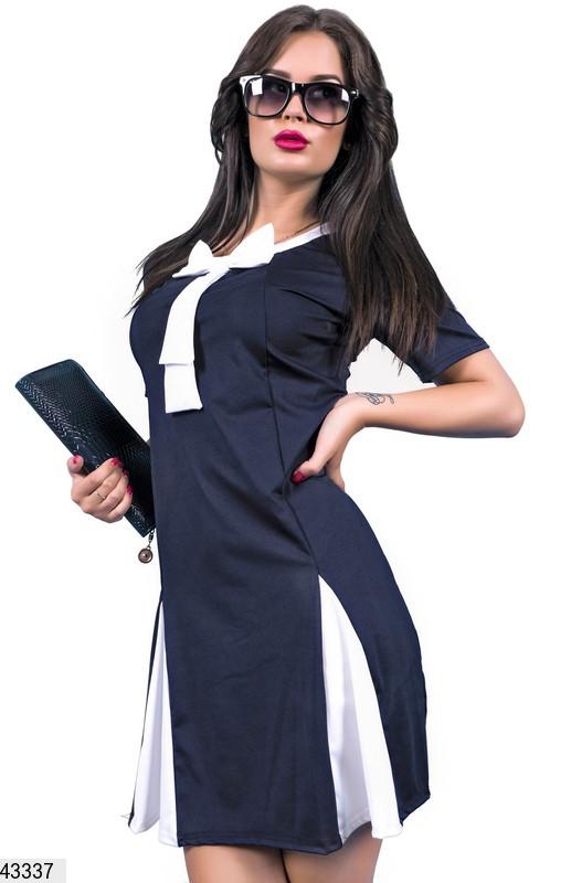 Строгое демисезонное платье короткое юбка солнце клеш рукав короткий темно синее