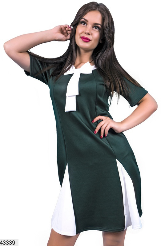 Красивое платье на осень мини полуприталенное рукав короткий бант цвет бутылка