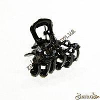 Крабики для волос, метал черного цвета, камни черные, 12 штук в упаковке