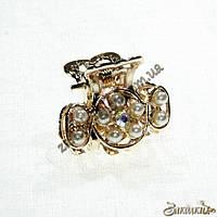 Крабики для волос, метал золотистого цвета, камни с жемчужинками, 12 штук в упаковке