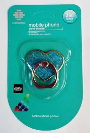 """Кольцо-держатель для телефона """"Сердце"""" глиттер, фото 2"""