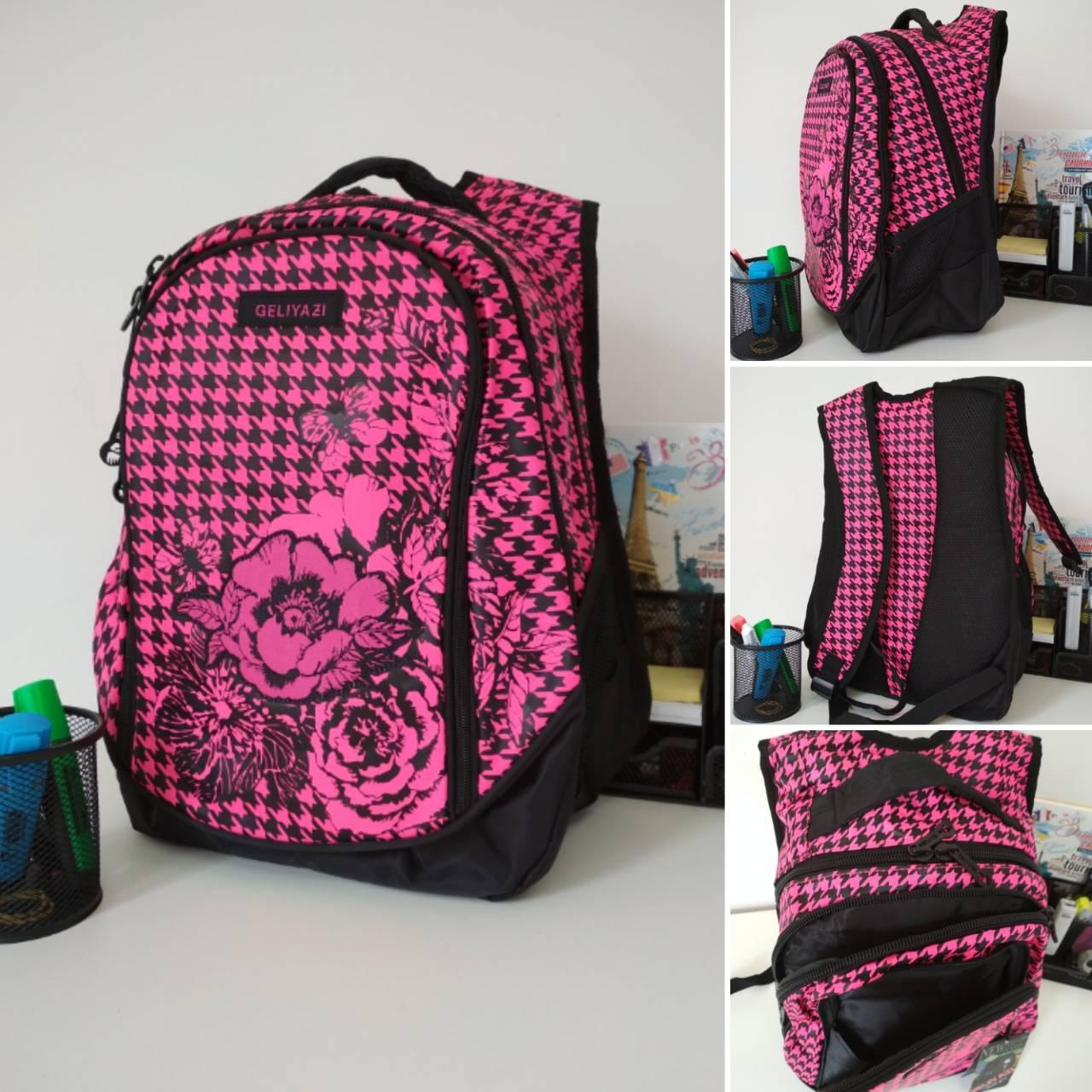 Рюкзак Цветок для девочек хорошее качество размер 40х30х20