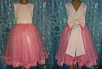 Святкова дитяча рожева сукня з бантом «Елегантність»
