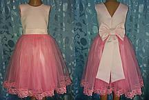 Святкова дитяча рожева сукня з бантом «Елегантність», розмір 74