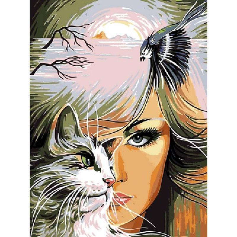 Картина по номерам Девушка и кошка, 30x40 см., Babylon
