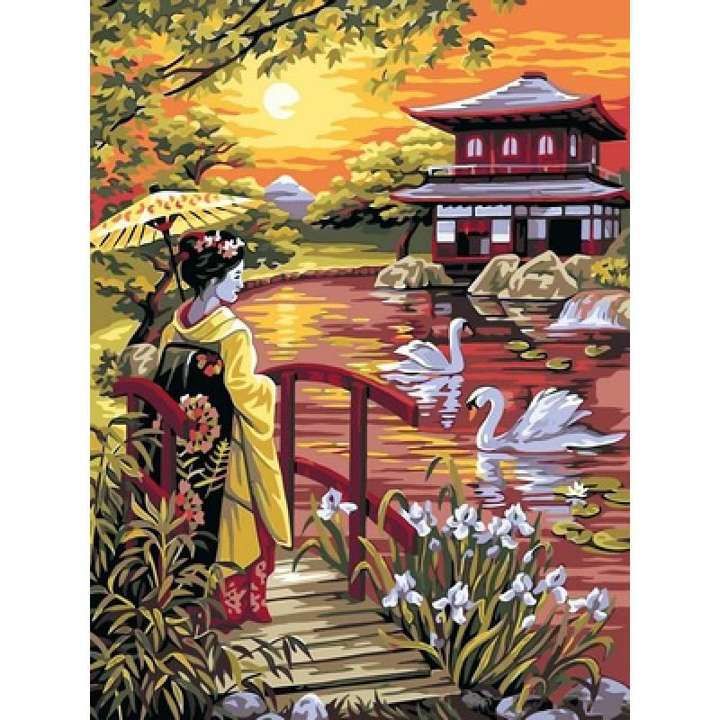 Картина по номерам Японский сад, 30x40 см., Babylon