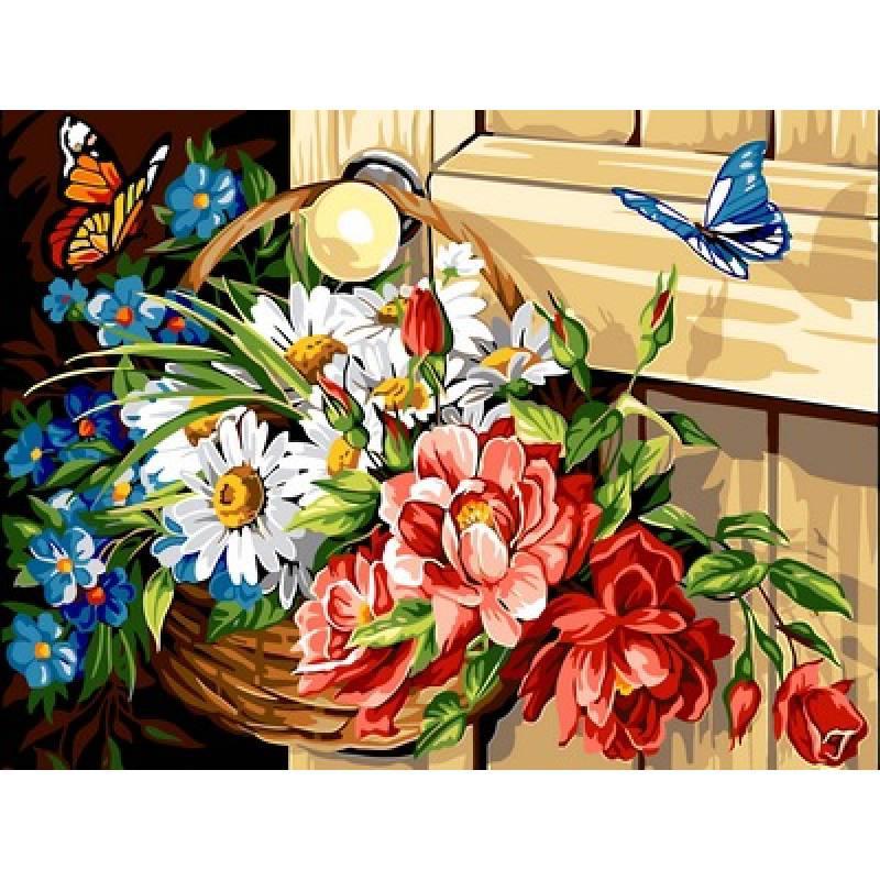 Картина по номерам Корзина с цветами, 30x40 см., Babylon