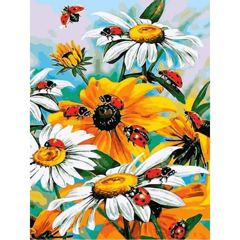 Картина по номерам Божьи коровки на цветниках, 30x40 см., Babylon