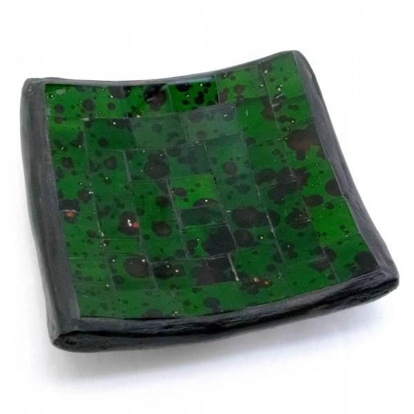 Блюдо терракотовое с зеленой мозаикой (10х10х2 см)