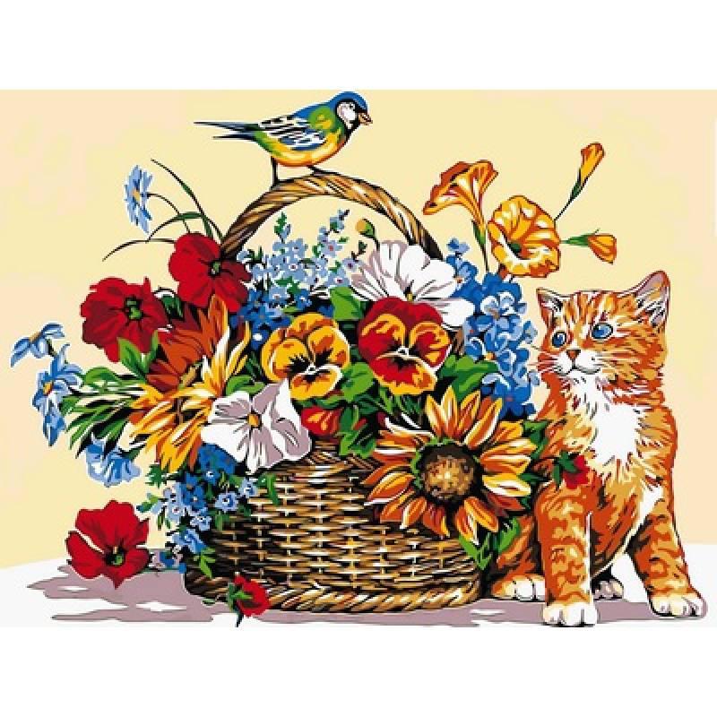Картина по номерам Кошка и цветочная корзина, 30x40 см., Babylon