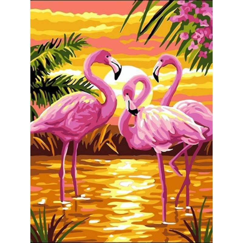 Картина по номерам Фламинго на красивом закате, 30x40 см., Babylon