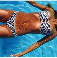 Женский купальник бандо бело-синий