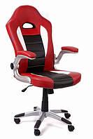 Офисный стул-кресло на колесиках Rally red красного цвета
