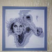 Картина Алмазная вышивка Девушка с лошадью квадратные камни