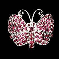 """Кольцо """"Бабочка"""" с натуральными Рубинами и Гранатом Родолитом, фото 1"""