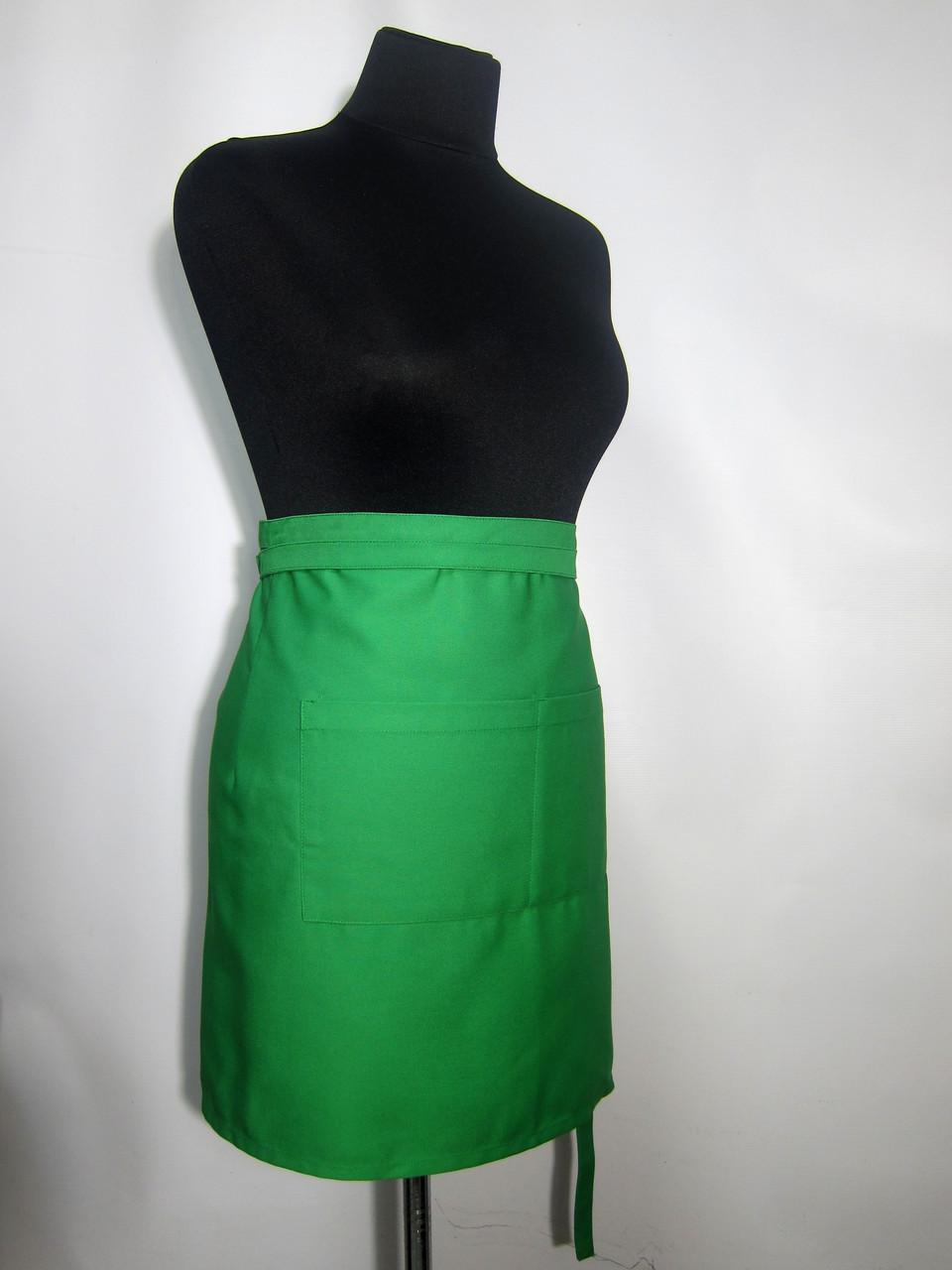 Фартук Atteks для официанта/повара/горничной, короткий 50 см зелёный - 00107