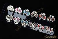 Крабики для волос, метал черного цвета, камни разных цветов, 12 штук в упаковке