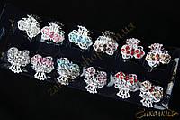 Крабики для волос, метал серебристого цвета, камни разных цветов, 12 штук в упаковке