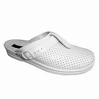 Сабо женские белые кожаные рабочая обувь оптом, фото 1