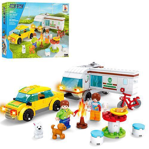 Конструктор AUSINI 25517 місто, пікнік, транспорт, фігурки, тварини, 254 елементи, в коробці, 35-25-5,5 см.