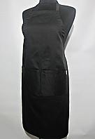 Фартук Atteks с нагрудником поварской / для официанта, бармена длинный черный - 00201