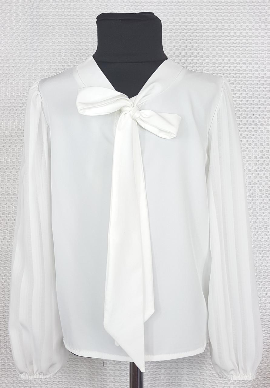Школьная блузка с длинным рукавом Бант  р.122-146 молочная
