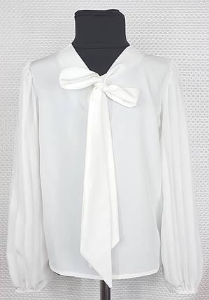 Школьная блузка с длинным рукавом Бант  р.122-146 молочная, фото 2